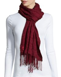 Tory Burch - Red Whipstitch Woven T Scarf - Lyst