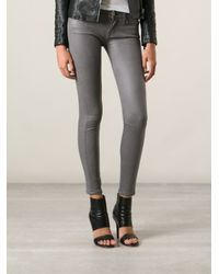 7 For All Mankind | Gray Coated Skinny Jeans | Lyst