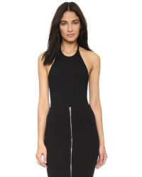 T By Alexander Wang | Black 3x3 Ribbed Halter Bodysuit - White | Lyst