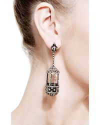 Bochic - Metallic Diamond Birdcage Earrings - Lyst