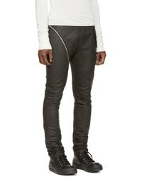 Rick Owens - Black Leather Aircut Travel Trousers for Men - Lyst
