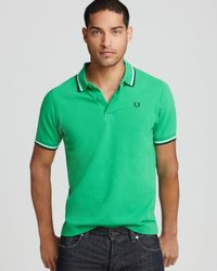 Fred Perry - Green Tipped Logo Polo - Regular Fit for Men - Lyst