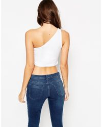 ASOS | Black Crop Top With One Shoulder | Lyst