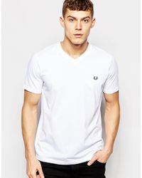 Fred Perry - T-shirt With V Neck In White for Men - Lyst