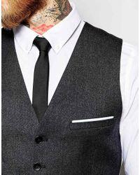 Heart & Dagger - Black Tweed Waistcoat In Super Skinny Fit for Men - Lyst