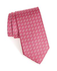 Ferragamo - Pink Gancini Print Silk Tie for Men - Lyst