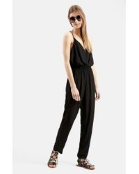 TOPSHOP | Black 'all In 1' Strappy Jumpsuit | Lyst