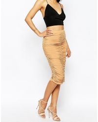 Club L - Natural Ruched Midi Skirt - Lyst