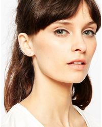 ASOS | Metallic Sterling Silver Ear Cuff Chain And Stud Single Earring | Lyst