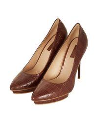 TOPSHOP | Brown Soda Croc Platform Court Shoes | Lyst