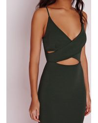 Missguided - Natural Scuba Strappy Cut Out Midi Dress Khaki - Lyst