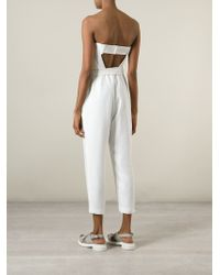 Elizabeth and James - White Belted Strapless Jumpsuit - Lyst