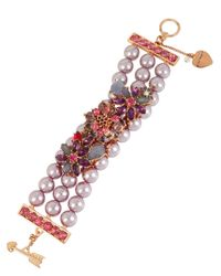 Betsey Johnson | Pink Stone And Bead Toggle Bracelet | Lyst
