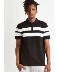 Forever 21 - Black Varsity-striped Piqué Polo for Men - Lyst