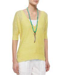 Eileen Fisher - Yellow Half-sleeve Slub Links Box Top - Lyst