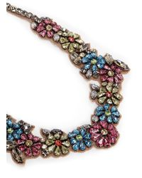 Valentino | Multicolor Floral Crystal Satin Necklace | Lyst