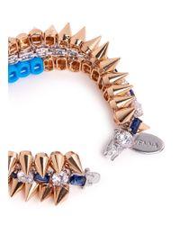 Venna - Multicolor Crystal Spike Bracelet - Lyst