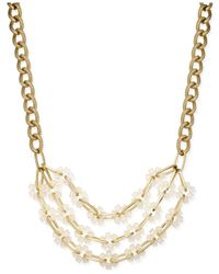 Macy's - Metallic Gold-tone Crystal Cube Long Length Statement Necklace - Lyst