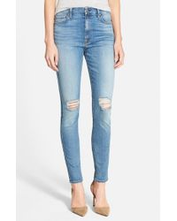 7 For All Mankind | Blue High Rise Skinny Jeans | Lyst
