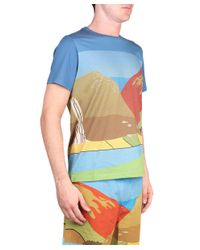 J.W.Anderson - Blue Landscape Printed Cotton T-Shirt for Men - Lyst