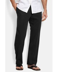 Tommy Bahama | Black 'new St. Thomas' Flat Front Silk & Cotton Pants for Men | Lyst