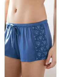 Forever 21 - Blue Lace-paneled Pj Shorts - Lyst