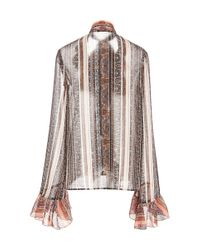 Rodarte - Pink Paisley Tie Neck Blouse With Ruffle Details - Lyst