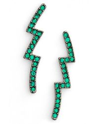 Nadri | Green Lightning Bolt Post Earrings | Lyst