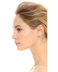 Jennie Kwon - Green Emerald Accent Stud Earring - Clear/emerald - Lyst