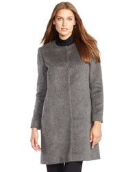 Lauren by Ralph Lauren | Gray Collarless Wool Blend Coat | Lyst