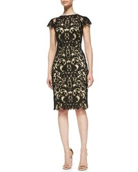 Tadashi Shoji | Black Cap-sleeve Embroidered Sheath Dress | Lyst