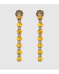 Gucci | Metallic Lion Head Earrings With Crystals | Lyst