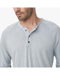 James Perse - Gray Linen Cotton Raglan Henley for Men - Lyst