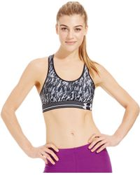 Under Armour - Black Heatgear® Alpha Printed Compression Sports Bra - Lyst