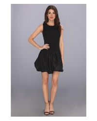 Rebecca Taylor - Black Sleeveless Cloque Taffeta Dress - Lyst