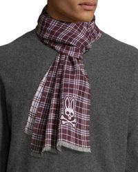Psycho Bunny - Purple Shadow Reversible Plaid Fringe Scarf for Men - Lyst