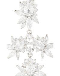 Fallon - Metallic Rhodium Plated Cubic Zirconia Marquis Chandelier Earrings - Lyst