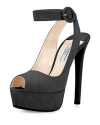 Prada - Black Suede Ankle-Wrap Platform Sandal - Lyst