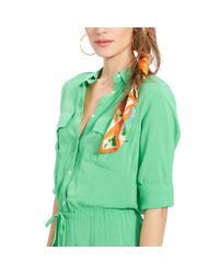 Ralph Lauren | Green Rolled-cuff Shirtdress | Lyst
