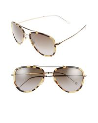 Gucci - Brown 57mm Aviator Sunglasses - Spotted Havana - Lyst