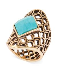 Lucky Brand | Metallic Goldtone Openwork Turquoise Stone Ring | Lyst