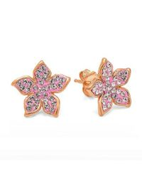Amanda Rose Collection - Multicolor 14k Rose Gold Plated Sterling Silver Flower Earrings With Swarovski Crystals - Lyst