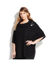 Calvin Klein - Black Plus Size Buckle-detail Cowl-neck Cape - Lyst