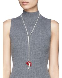Lynn Ban - Red Smoking Lips Lariat Necklace - Lyst