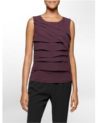 Calvin Klein | Purple White Label Ruffle Sleeveless Top | Lyst