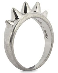 Alexander McQueen - Metallic Silver Plated Spiked Ring - Lyst