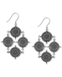 Lucky Brand - Metallic Silver-tone Coin Drop Earrings - Lyst