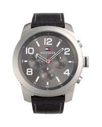Tommy Hilfiger - Black Multifunction Leather Strap Watch for Men - Lyst