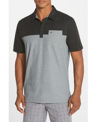 Travis Mathew | Black 'hollows' Colorblock Pima Cotton Jersey Golf Polo for Men | Lyst