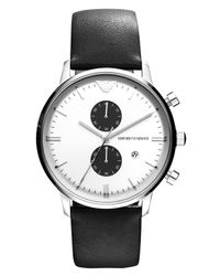 Emporio Armani - Watch, Chronograph Black Leather Strap 43mm Ar0385 for Men - Lyst
